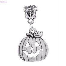 100 Pcs Ancient Silver Jack-O-Lantern Carved Pumpkin Halloween Pendants Charm for European Bracelet 30 mm x 15.5 3