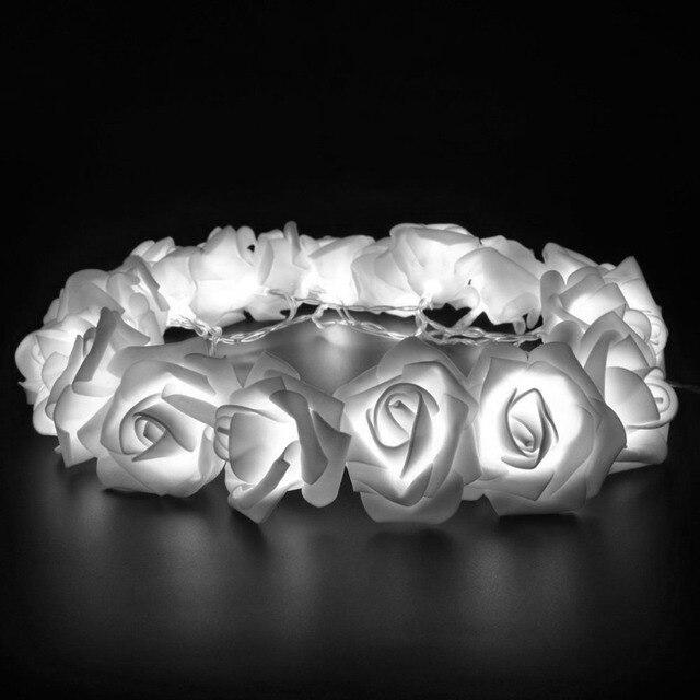 Wedding White Roses Led String Lights 1 2m 10 Leds Best Gift For Birthday Party Events