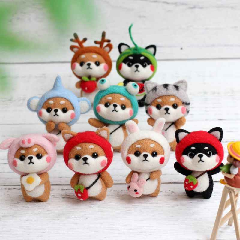 Pig Rabbit Strawberry Doll Wool Felt Craft DIY Non Finished Poked Set Handcraft Kit For Needle Material Bag Pack Shiba Inu