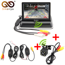 Sinairy Car Wireless Parking Camera Monitor Video System 4.3 Inch Car Foldable Monitor With Rear View Camera, Wireless Video Kit