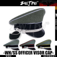 WW2 Army Cap Collectibles Greyish green Officer Large Brimmed Hats Woolen Cap badge DE/401139