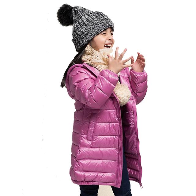 Niñas de Invierno Pato Blanco Abajo Luz Abrigo Niños Chaqueta Con Capucha Largas Secciones Niños Ropa Reciben Cálido Parka ropa de Abrigo Traje Para La Nieve