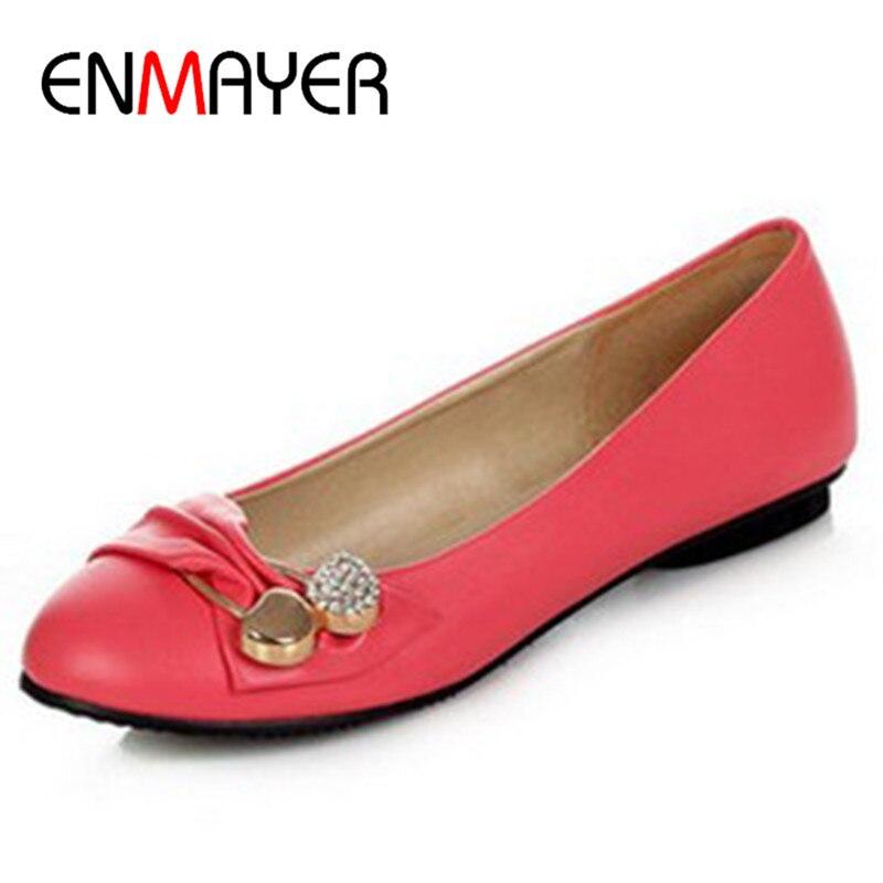 ENMAYER Women s Fashion Shoes Woman Flats Spring Shoes Large Size 4 14 Female Ballet Shoes