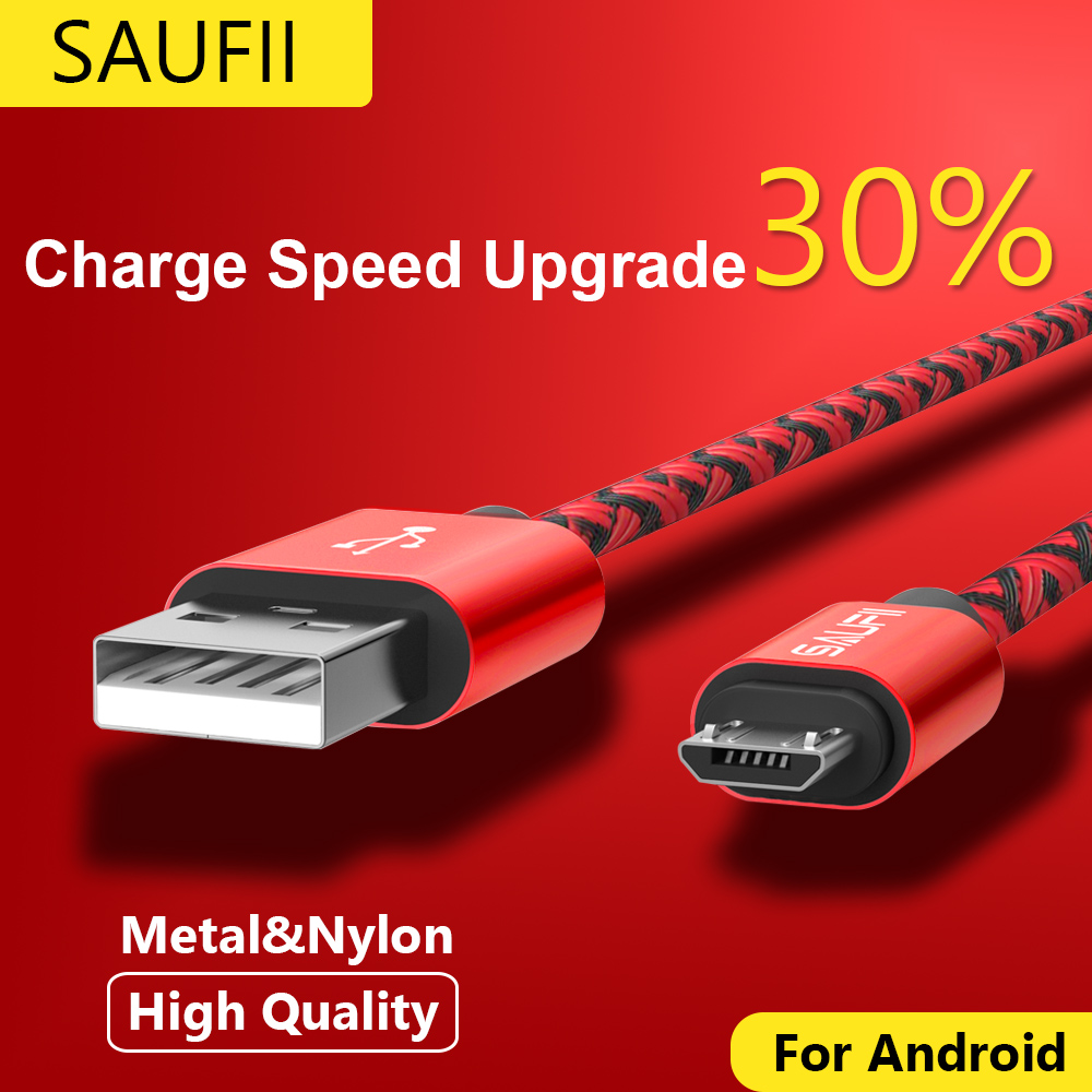 Micro USB Cable SAUFII nylon Flat USB Data Sync wire capa 5V 2A Quick Charge For Samsung HTC Sony Charger Cable
