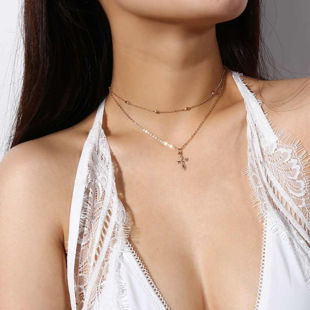 2018 Classic Summer Gold Silver Chain Crystal Cross Necklace Small Cross Pendant Necklace Multilayer Choker Religious Jewelry