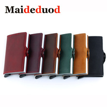 Maideduod New Men And Women Genuine Leather Card Holder Vintage Purse Crazy Horse Aluminium Credit Business