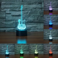 LED Creative 3D Lamp Touch Switch 7 Color Guitar Model Changing Visual Illusion Light Bedroom Light