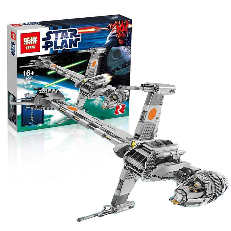 Lepin 05045 Genuine UCS Series B-wing Starfighter Educational Building Blocks Bricks Toys Compatible With lego 10227 1487 pcs lepin 05040 y attack starfighter wing building block assembled brick star series war toys compatible with 10134 educational gift