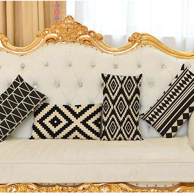 Decorative Throw Pillow Cushion Cover Black And White Geometric Lumbar  Pillow Rectangle Home Decor