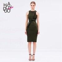 Haoduoyi Summer Western Style Fashion Slim Sexy Contrast Color Sleeveless O Neck SML XL XXL Woman
