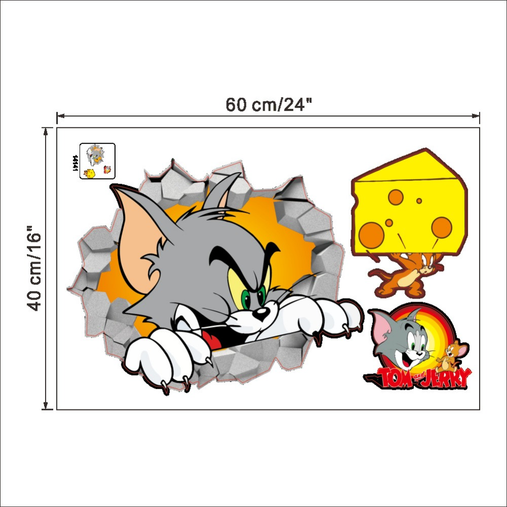 Tom and jerry 3d wall sticker for kids room picture more detailed picture about tom jerry d broken wall amipublicfo Image collections