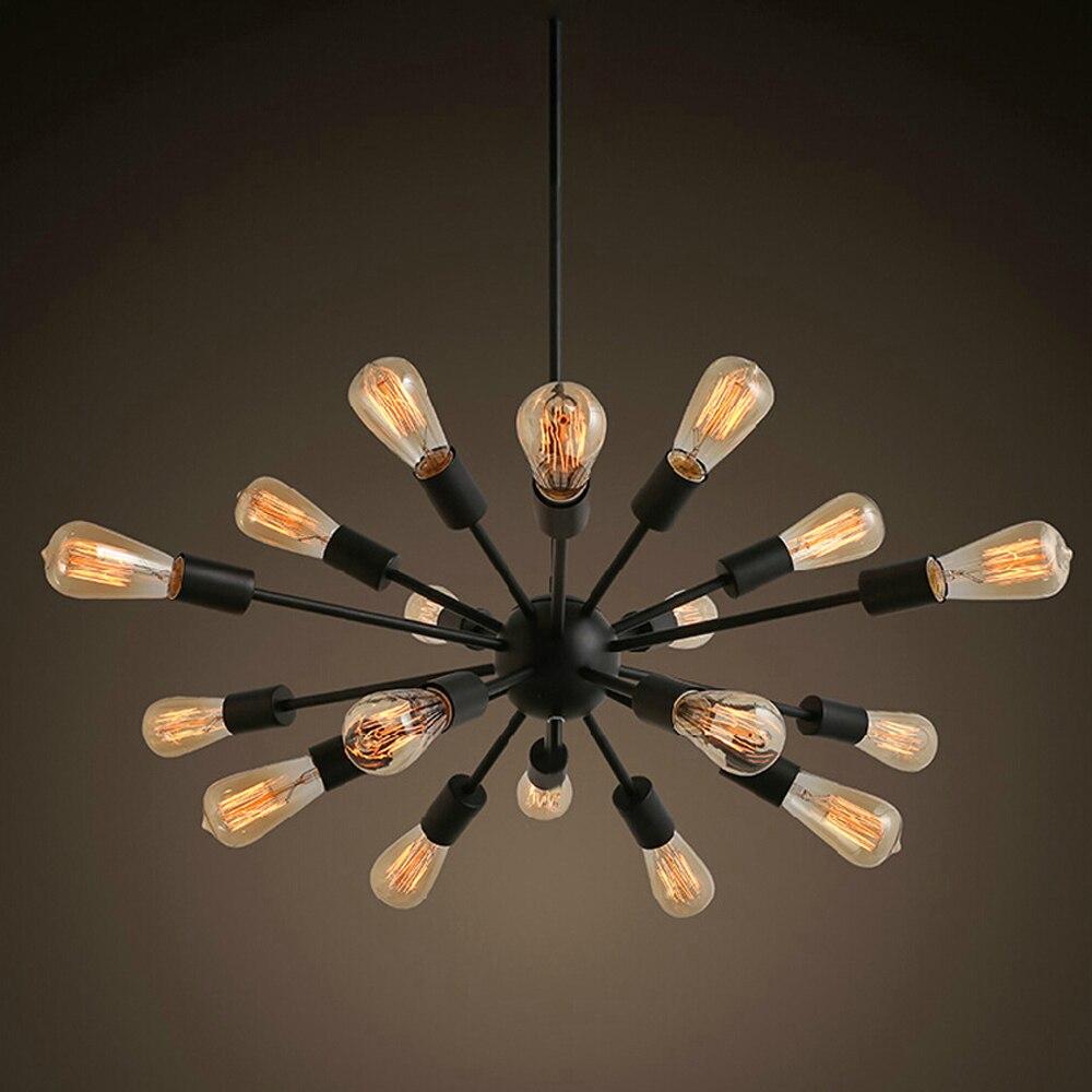 Livraison gratuite lustres Vintage 18 lumières spoutnik éclairage peinture noire E26 E27 ampoule non incluse pour salon chambre 30