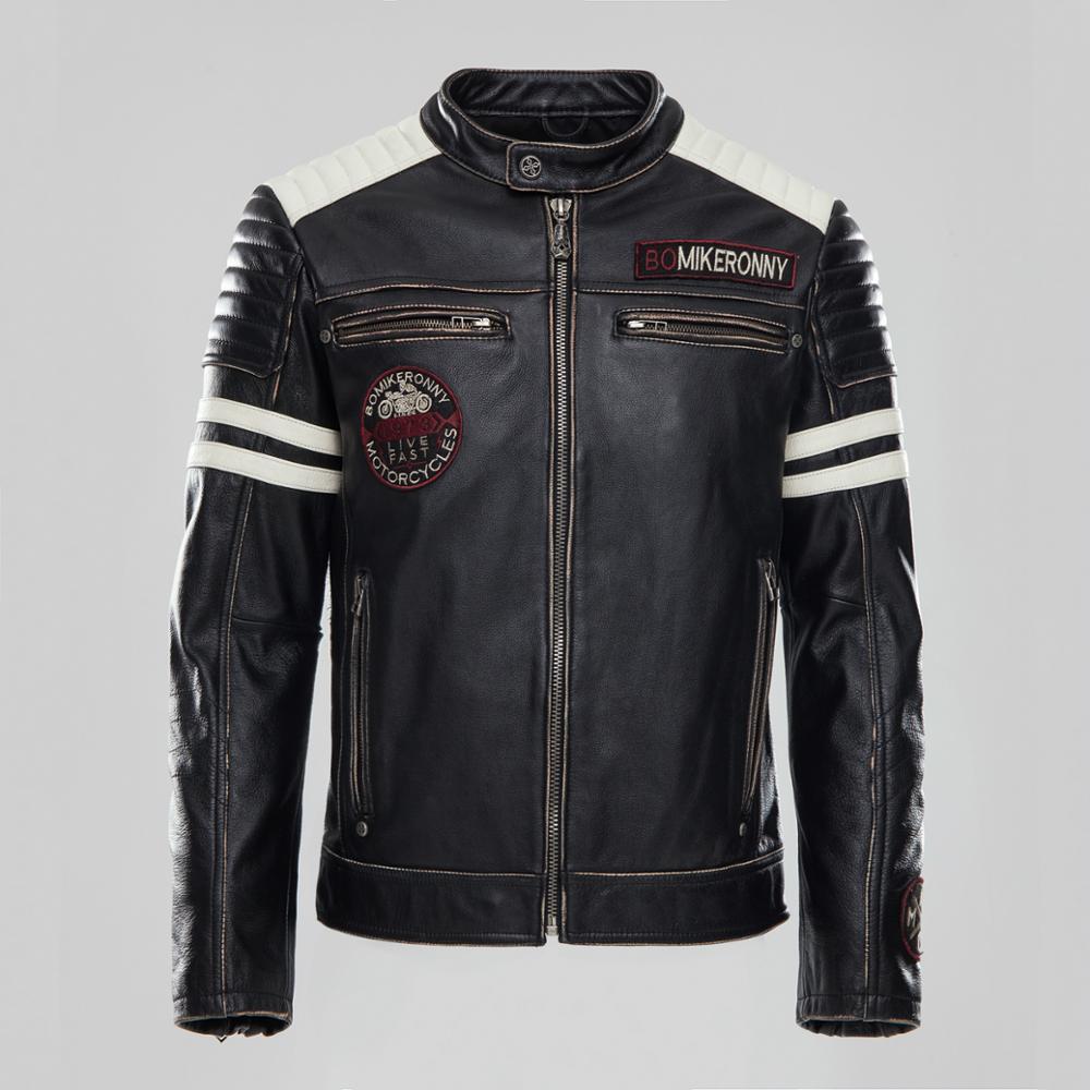 Sporting 2018 Männer Vintage Schwarz Echtes Leder Motorradjacke Rindsleder Slim Fit Biker Jacke Winter Mäntel S-xxxl