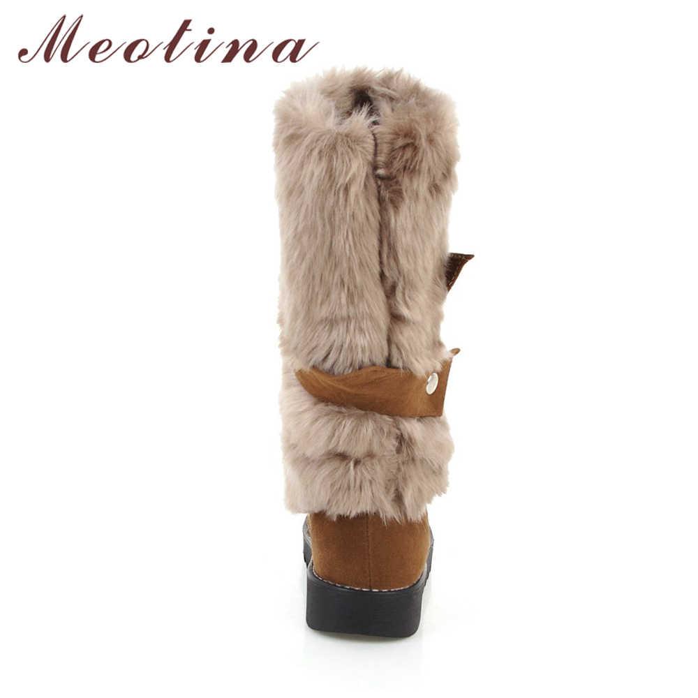 Meotina Kadınlar Orta Buzağı Çizmeler Kışlık Botlar Peluş Platform Çizmeler Yuvarlak Ayak Çizmeler Peluş Sıcak Kadın Ayakkabı Siyah Kahverengi 43