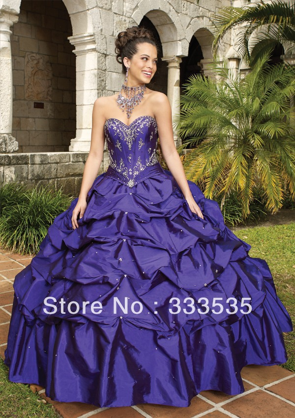 Aliexpress.com : Buy Free Shipping Taffeta Dark Purple Quinceanera ...