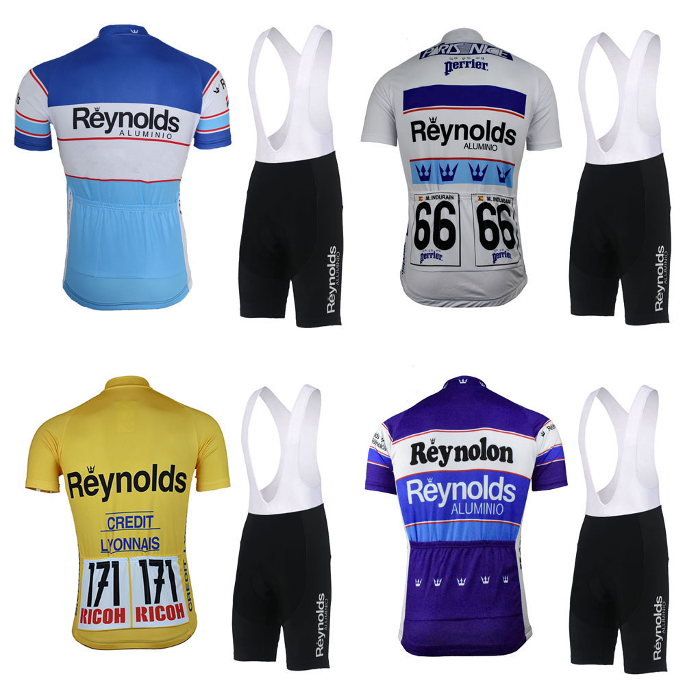 Classic reynolds cycling jersey set bike wear jersey set bib shorts Gel Pad Outdoor sports Cycling clothing ropa CiclismoClassic reynolds cycling jersey set bike wear jersey set bib shorts Gel Pad Outdoor sports Cycling clothing ropa Ciclismo