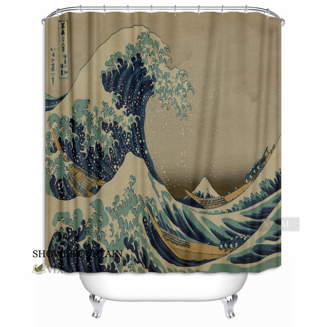 VIXM Japan Noren Curtain Tapestry Ukiyoe Hokusai Fabric Shower The Great Wave Kanagawa Bath