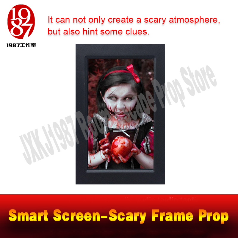 Room escape prop smart screen scary frame prop create a horrible atmosphere and get the clues from JXKJ1987 for adventurer game ...