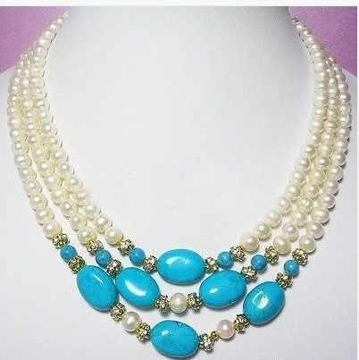 $ Wholesale_jewelry_wig $ freies verschiffen SCHÖNHEIT ASIATISCHEN SCHMUCK 3 STRANDS SÜßWASSER PERLE & HALSKETTE