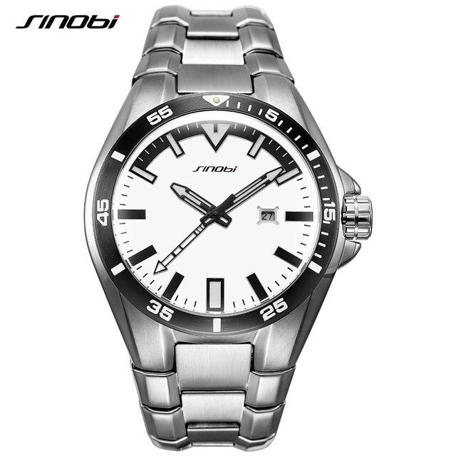 9938a59ea72 SINOBI Homens de Negócios Assista 2018 Luxo High-end de Aço Inoxidável Completa  relógio de
