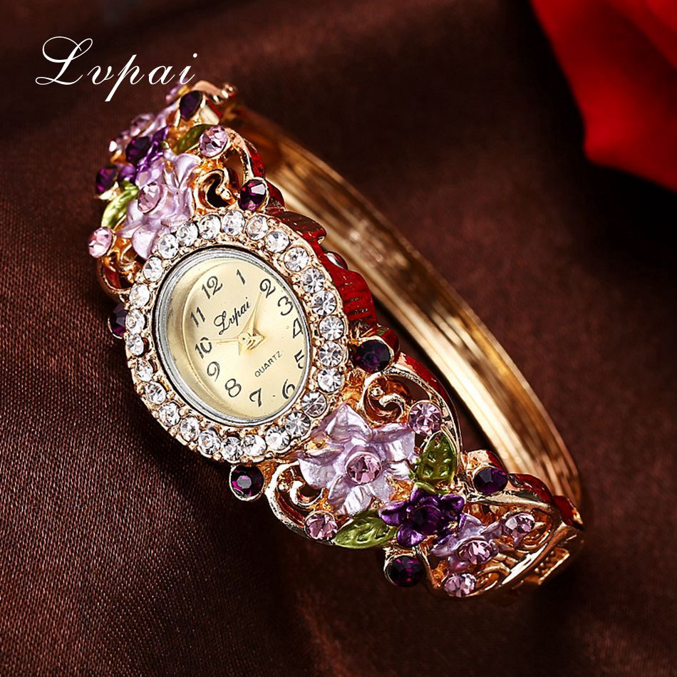 Lvpai Brand Luxury Ladies Quartz Watches Women Dress Watch Vintage  Flower Pattern Wristwatch Fashion Female Bracelet Watches