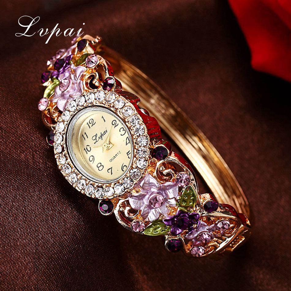 Lvpai Brand Luxury Ladies Quartz Watches Women Dress Watch Vintage  Flower Pattern Wristwatch Fashion Female Bracelet Watches
