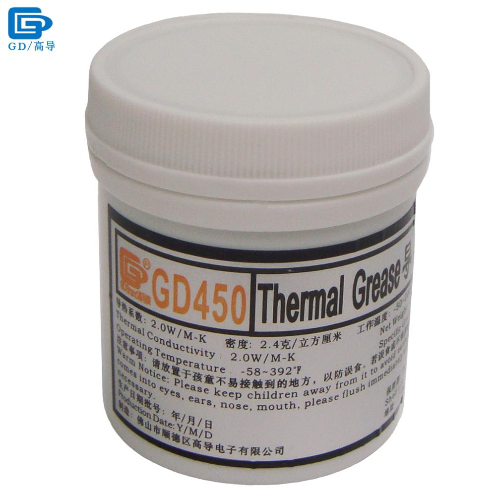 GD Brand Heat Sink Compound GD450 Thermal Conductive Grease Paste Silicone Plaster Net Weight 100 Grams Golden For LED CPU CN100 gd brand thermal conductive grease paste silicone plaster gd460 heat sink compound net weight 1000 grams silver for led cn1000