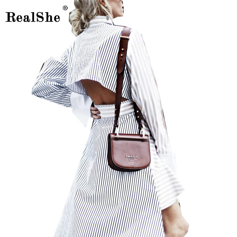 RealShe Elegant Women Dress Woman Turn Down Collar Striped Long Asymmetrical Dresses Woman Sexy Backless Dresses