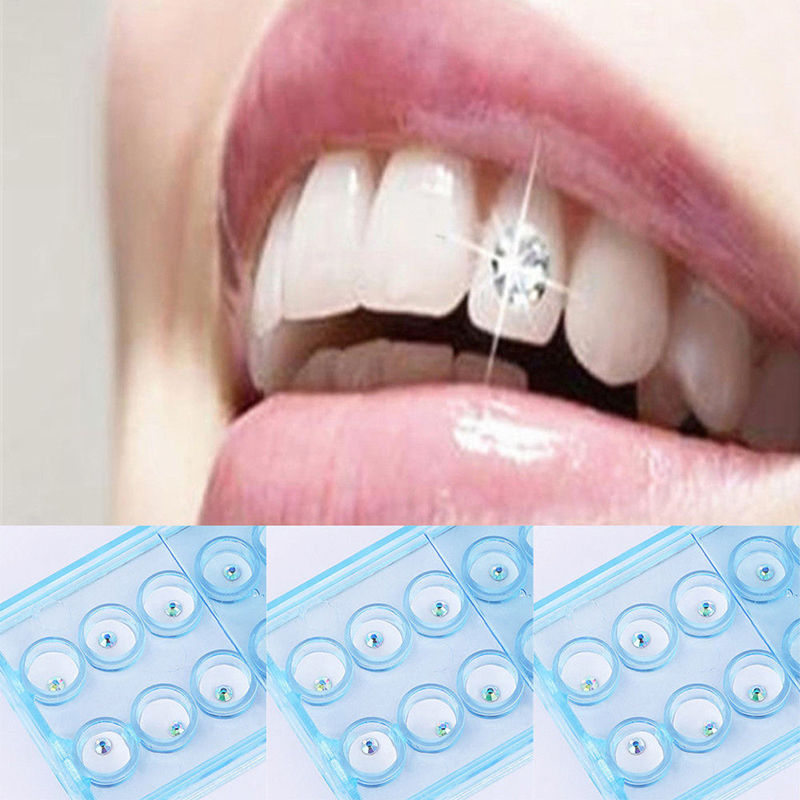 10pcs Diamond Bur Dental Material Teeth Whitening Studs Denture Acrylic Teeth Crystal Ornament Oral Hygiene Tooth Decoration