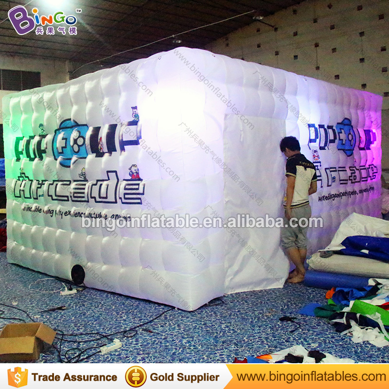 Advertising tent type 5.5X3.5X2.5 M LED lighting inflatable kiosk with customized digital printing photo booth toy tent for sale