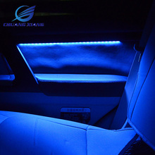 7PCS 4 Colors Car Interior Atmosphere Light Lamp With Door Wooden Penals For Toyota Land Cruiser 200 FJ200 2008  2017 Models