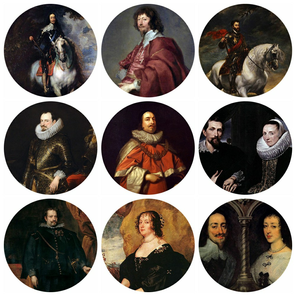 20pcs 12~40mm Artist Anthony van Dyck Art Paintings Collection Charles I Of England And Henrietta Of France Glass Cabochon image
