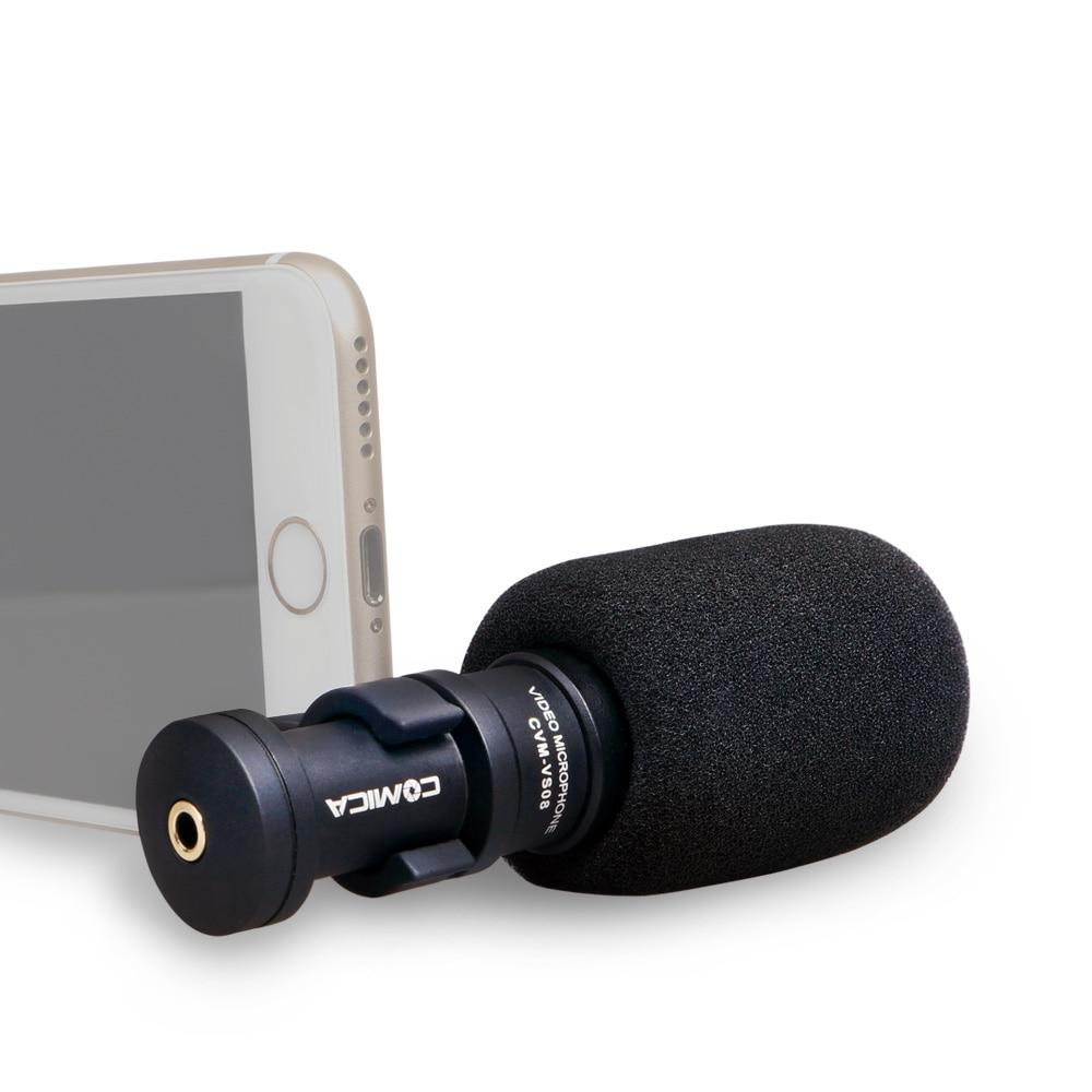 CoMica CVM-VS08 Shotgun Video Cardioid Microphone for Smart Phone Full Metal Mini Mic for IPhone Ipad with Windscreen Wind Muff commlite full metal cardioid directional condenser shotgun video microphone mic for smartphone ipad iphone 7 6s 6s 5