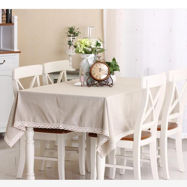 Korean Style Solid Color Lace Linen Table Cloth Multifunctional Tablecloths  Table Cover Home Decor Free Shipping ZB 15