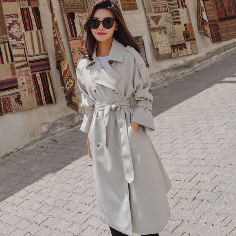 Beige Women   Trench   Coat Streetwear Long Overcoat Trend Coat Feminino New Elegant Autumn Fashion Turn-down Collar Bat Sleeved