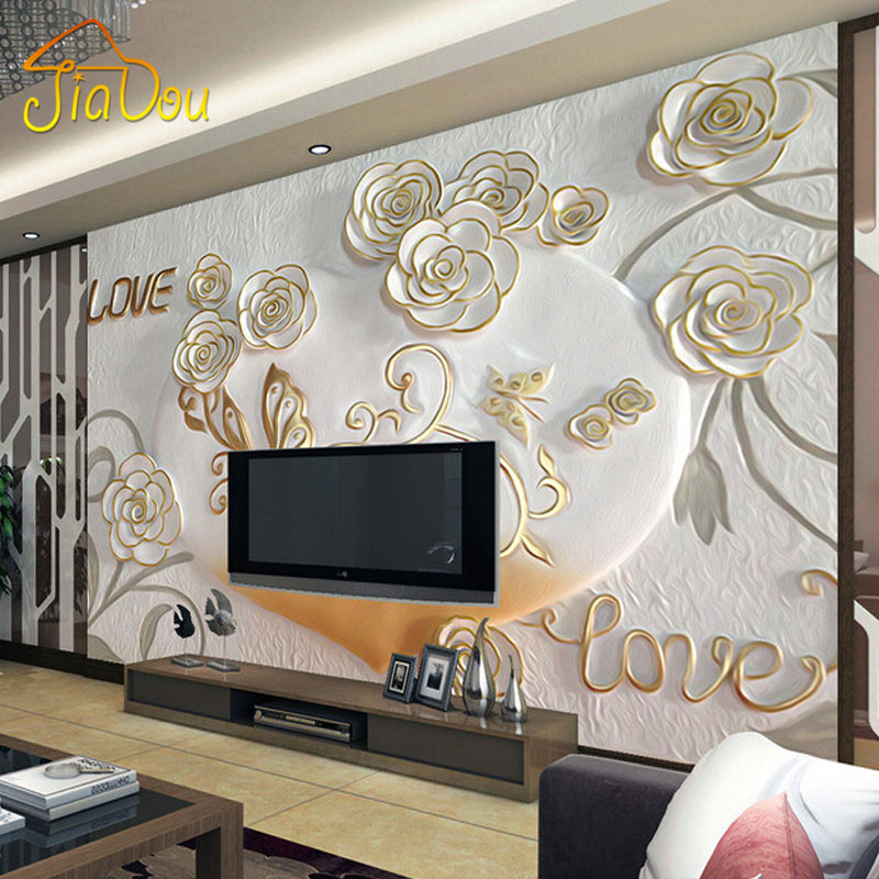Custom 3D Photo Wallpaper 3D Stereoscopic Embossed European Romantic Bedroom TV Background Wall Mural Wallpaper Roll Home Decor custom mural wallpaper european style 3d stereoscopic new york city bedroom living room tv backdrop photo wallpaper home decor