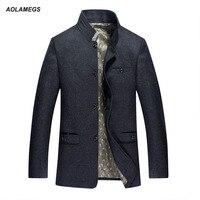 Erkekler ceket bahar sonbahar sıcak yün ceket ve ceket standı yaka moda rahat rüzgarlık açık havada yün palto dış giyim 3XL