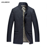 Men Jacket Spring Autumn Warm Woolen Jacket And Coat Stand Collar Fashion Casual Windbreaker Outdoor Wool