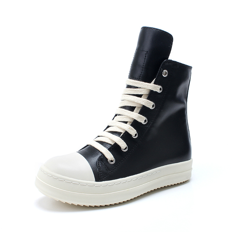 Street Hip Hop รองเท้าผ้าใบเต้นรำ Casual Rock รองเท้าขี้ผึ้งหนังข้อเท้ารองเท้า Classic Lace Up top รองเท้าผู้ชายรองเท้าผ้าใบ-ใน รองเท้าบู๊ทมอเตอร์ไซค์ จาก รองเท้า บน   3