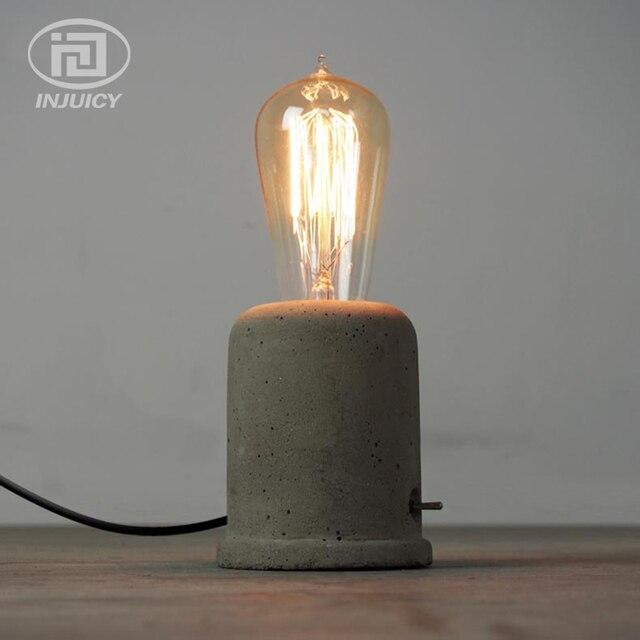 amerikanischen nordic loft jahrgang industrielle beton tischleuchte edison schreibtisch lampe schlafzimmer nachttischlampen birne led cafe bar - Nachttischlampen