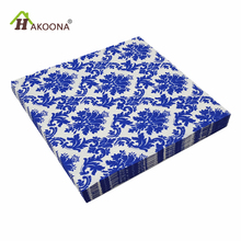 HAKOONA 3 Bags 60 Pieces Layer Paper Fabric Napkin Blue And White Porcelain Pattern Facial Tissue Bar Dessert Party Mats