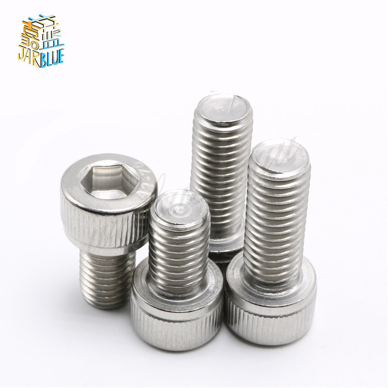 New 50Pcs M1.6 M2 M2.5 M3 M4 DIN912 304 Stainless Steel Hexagon Socket Head Cap Screws Hex Socket Screw Metric Bike Screw 20pcs m4 m5 m6 din912 304 stainless steel hexagon socket head cap screws hex socket bicycle bolts hw003