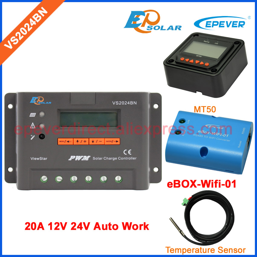 PWM charger solar 20A display controller eBOX-Wifi-01 and Temp sensor cable EPEVER Charging regulator MT50 Meter VS2024BN solar charger battery controller pwm 20a ls2024b with the mt50 remote meter and ebox wifi 01 funciton box