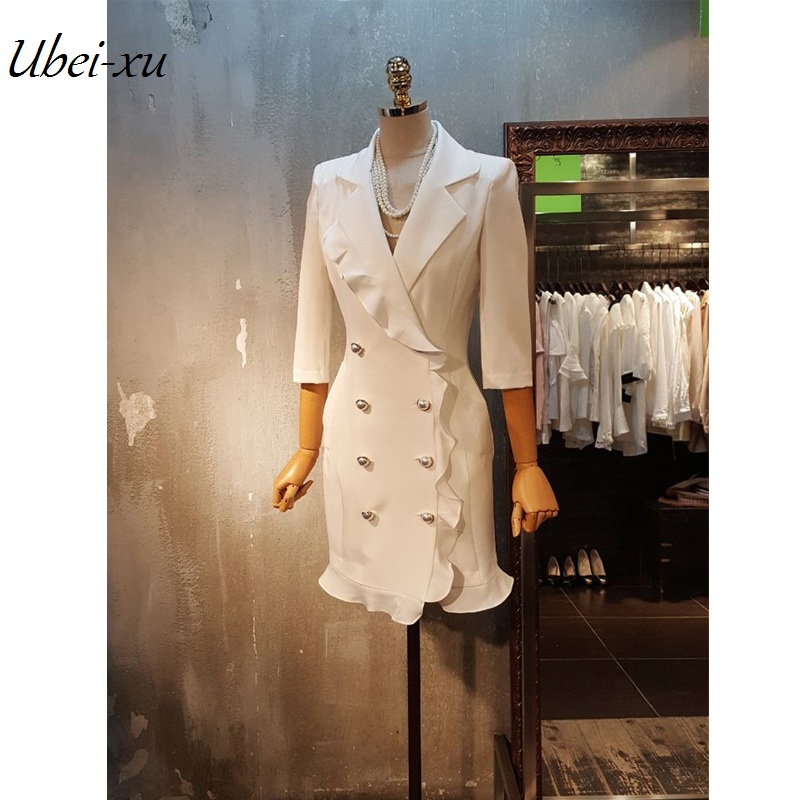 Ubei Presell new slim flounce double breasted blazer jacket sheath short dress women Pearl buttons party wrap dress high quality