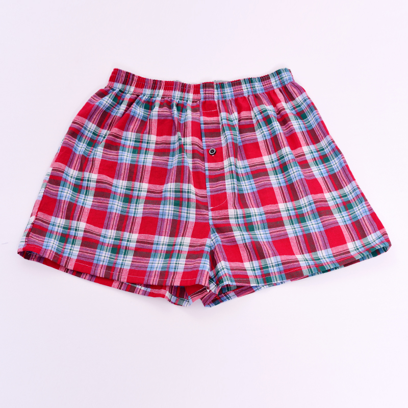 Mens Underwear Panties Boxer-Shorts Cotton Plaid for Male Homme Loose High-Quality