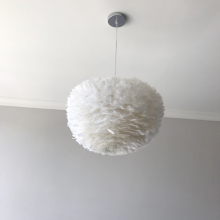 Decorative modern white flower plume feather pendant LED light designed