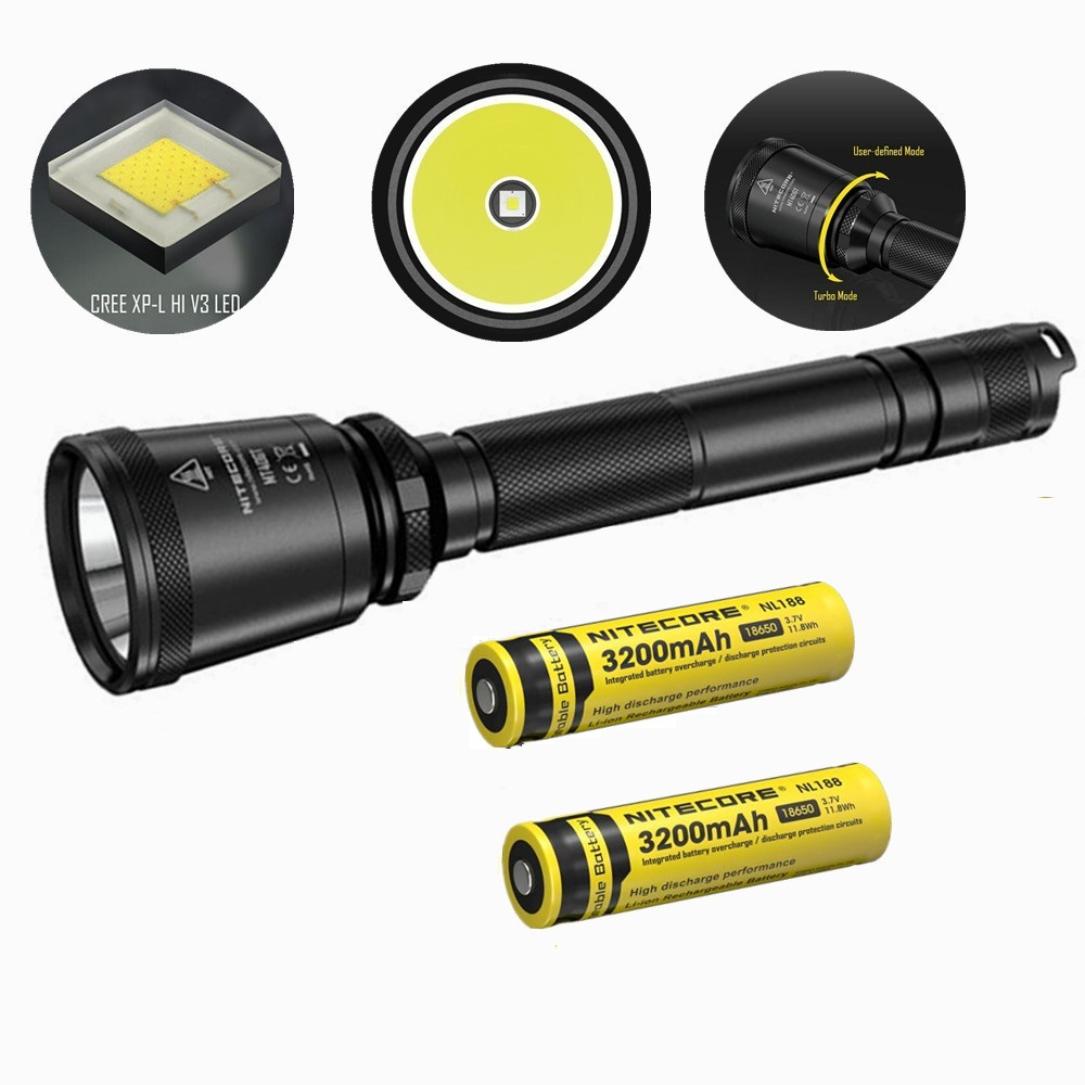 NITECORE MT40GT XP-L HI V3 Led Flashlight with 2 pcs nitecore NL188 3200mah 18650 battery 1000 Lumens 618 m Beam Distence Search nitecore p12gt cree xp l hi v3 1000lm led flashlight 320 meter torch new i2 charger 18650 3400mah battery for search