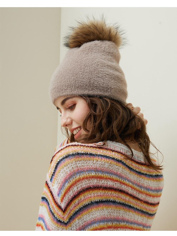 Hat Female Raccoon Hair Ball Beanies Winter Warm Wool Bonnet Pompom Beanies 2018 Fashion Russia Knitted Skullies Cap For Girls (10)