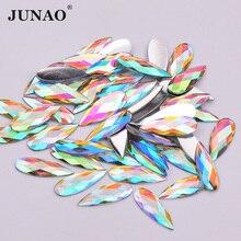 JUNAO, 8*22 мм, блестящие кристаллы AB, каплевидные Стразы, аппликация с плоской обратной стороной, Стразы для ногтей, не швейные камни для украшения