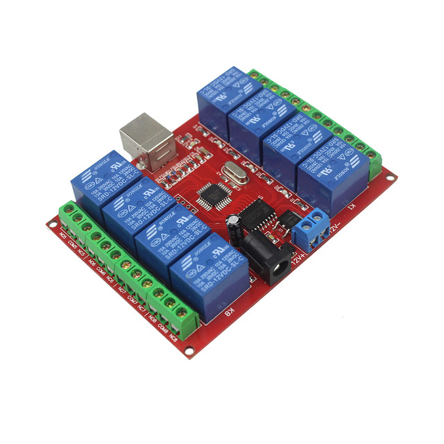 US $9 56  8 channel DC 12V relay module /computer USB control switch driver  / PC Intelligent Controller eight way 12V USB module-in Relays from Home